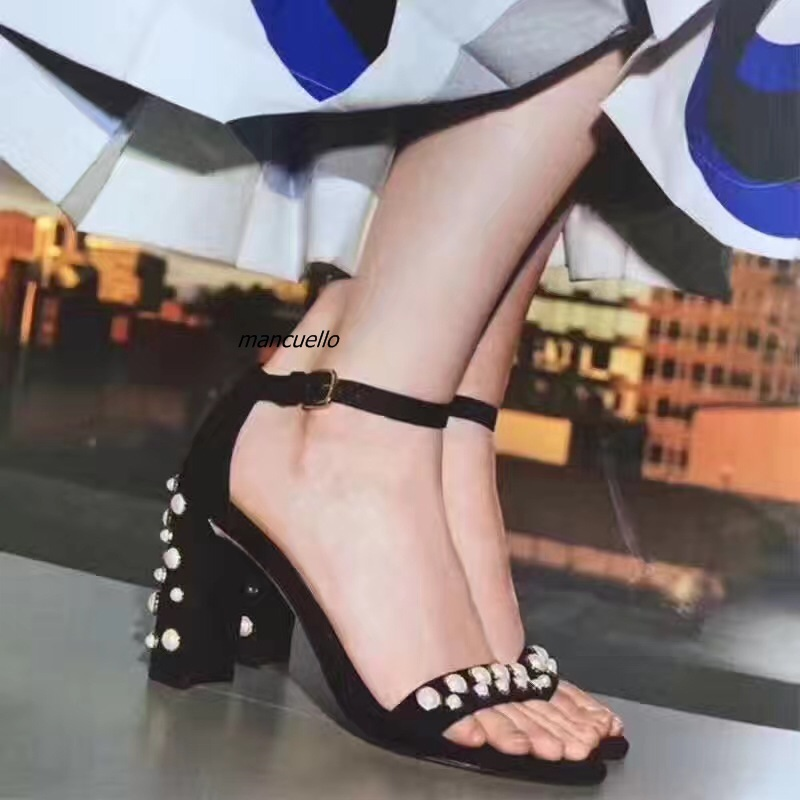 ФОТО Chic Black Suede Block Heel Sandals Concise Line Buckle Pearl Decorated Chunky Heel Open Toe Dress Sandals New Trend Shoes