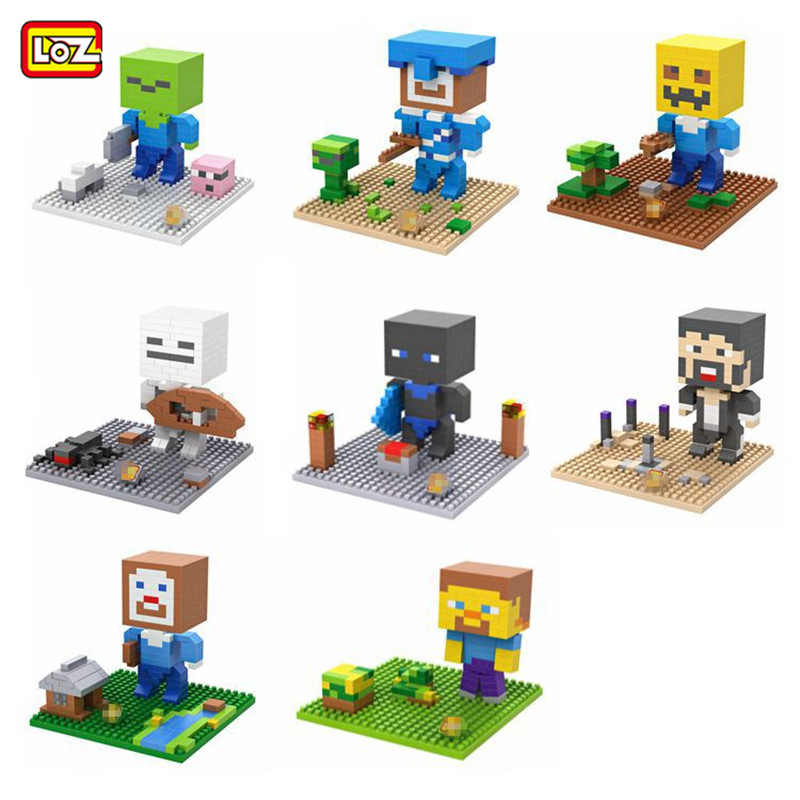 LOZ mini Block Minecraft Steve Zombie Skeleton Diamond Micro Building Blocks Steve Fun Assemblage Diy Action Figure Toysfor gift minecraft 4 in 1 building blocks minecraft figures dragons toys steve zombie alex witch zombie skeleton compatible blocks e