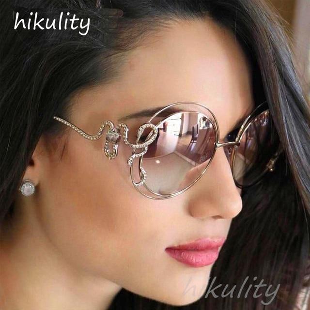 764951fd14a Luxury Diamond Pink Round Sunglasses Women 2018 Unique Rhinestone Snake  Designer Sun Glasses Female Ladies Shades Lunette Femme