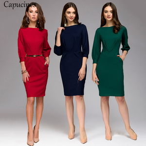 Image 5 - Red Pencil Dress Women Autumn Solid color Draped Lantern Sleeve Office Lady Dress 3/4 Sleeve Elegant Bodycon Dresses(No Belt)