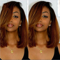 Synthetic Lace front wig Brazilian Ombre Bob Wig Two Tone 1b/30 Bob Wig Glueless Lace Front Brazilian Silky Straight Wig