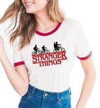 Strange Things T shirt Women White Harajuku Short Sleeve Graphic Tees Girls STRANGE THINGS Tshirt No Glue Feeling Clothing Tops