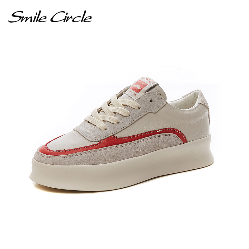 Smile Circle 2018 New Genuine Leather Sneakers Women Lace-up Flats Shoes Women Casual Shoes Round toe Flats platform Shoes C6004 qmn women snake effect leather brogue shoes women round toe platform oxfords shoes woman genuine leather casual platform flats