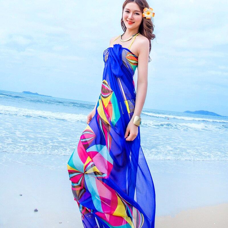 Women Chiffon Shawl Wrap Pareo Sarong Dress Bikini Scarf Sunscreen Beach Swim Wear Women Print Silk Scarf
