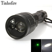 Tinhofire 5 mw 532nm Green Laser DIODO EMISSOR de Luz Branca 2LED Lâmpada LED Laser Tocha 1600LM 3 Modo Zoomable 18650/3AAA Lanterna 08-1