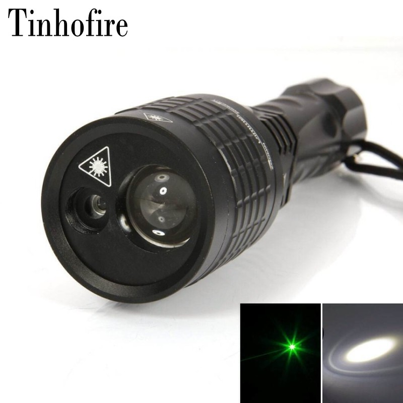 Tinhofire 5mw 532nm Green Laser White LED Light 2LED 1600LM 3 Mode Lamp Laser LED Torch Zoomable 18650/3AAA Flashlight 08-1 mini 8 led 30lm white light flashlight w 5mw red laser black 3 x aaa