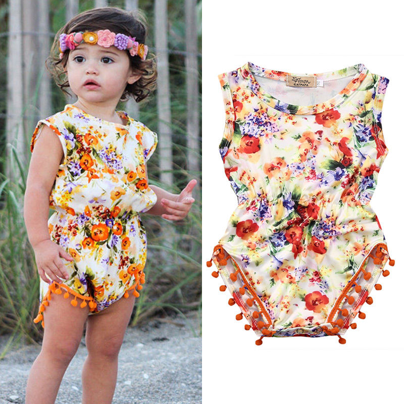 2016 Kleinkind Baby Mädchen Kleidung Sommer Sleeveless Floral Body One Pieces Outfit Sunsuit 0-24 Mt