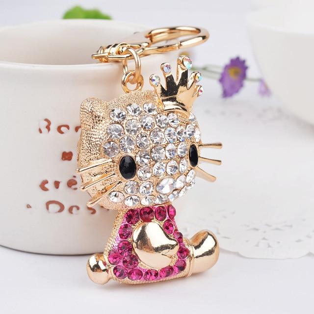 Novelty Rhinestone Cat Keychain Fashion Crystal Key Chain ring charm women bag decoration  key holder Jewelry gift