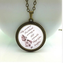 Popular We're all Mad Here Necklace Glass dome pendant Alice in Wonderland necklace for women for girl hot A-02-3 HZ1