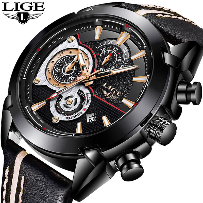 все цены на Relojes Hombre 2018 New LIGE Fashion Sport Mens Watches Top Luxury Brand Leather Quartz Watch Men Waterproof Military Clock+Box