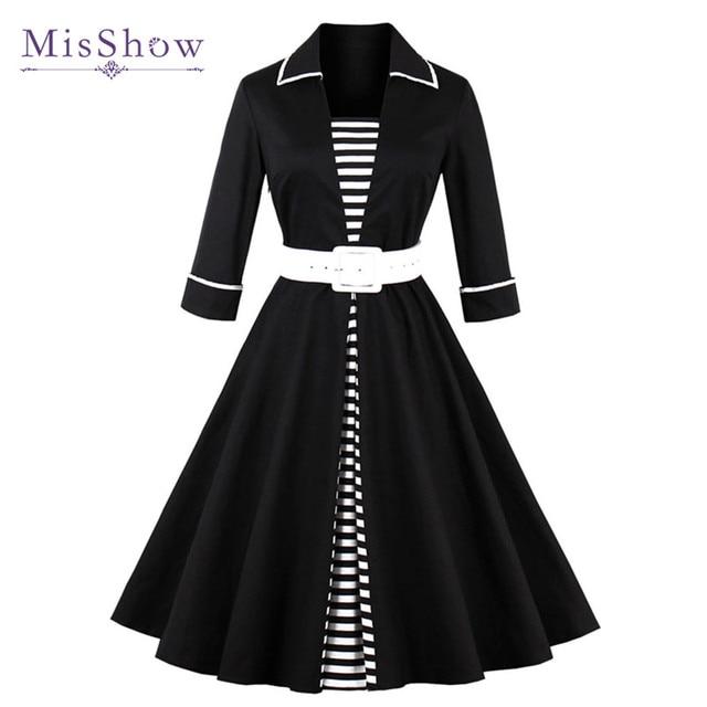 63b90dfa31f2a MisShow 2019 Autumn Black Striped Women Long Sleeve Vintage Dresses Plus  Size 4XL Belts Audrey Hepburn 50s 60s Rockabilly Dress