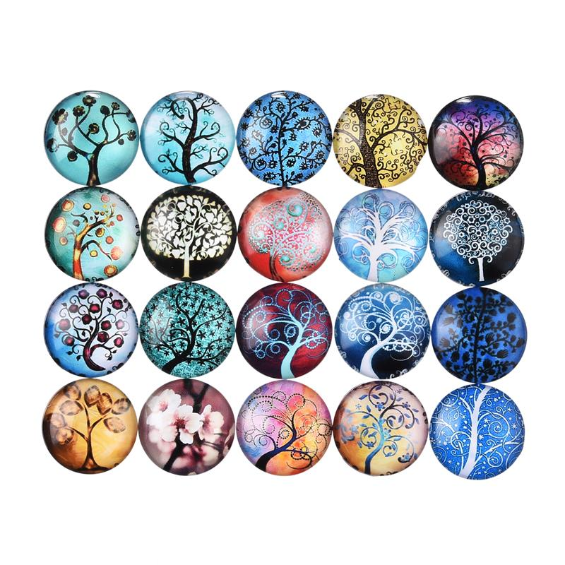 20mm Mix Glass Cabochon Jewelry Findings Flat Back Animal Tree Butterfly Space Spacers DIY Accessories Women Gift