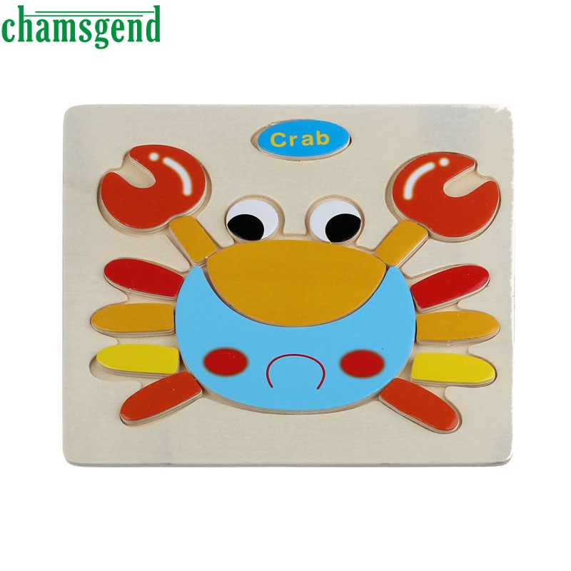 High Quality Wooden Cute Crab Puzzle Educational Developmental Baby Kids Training Toy Jigsaw Children Educational Gift