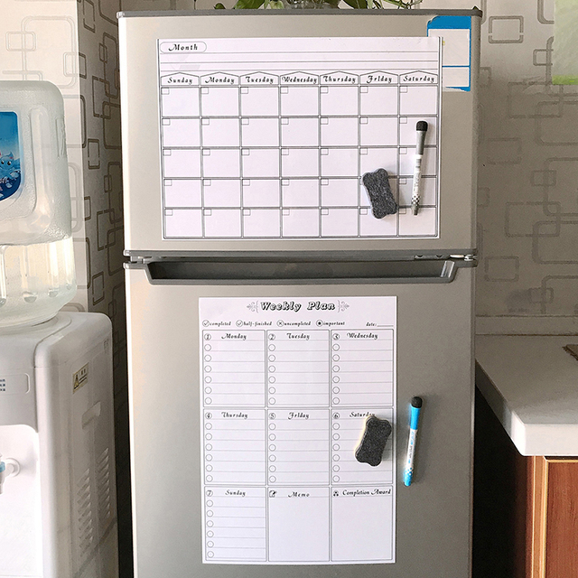 Reusable Magnetic Dry Erase Calendar Weekly Monthly Planner