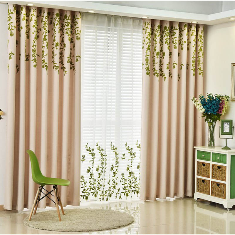 Embroidered Green Leaves Curtains For Living Room Pastoral