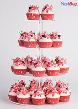YestBuy 4 Tier Maypole Round Wedding Party Tree Tower Acrylic Cupcake Display Stand  (4 (12cm gap))(15.1 Inches)