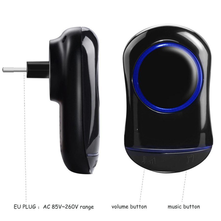 SMATRUL New Waterproof Wireless Doorbell EU Plug 300M Remote smart Door Bell Chime ring 1 2 button 1 2 3 receiver no battery Deaf Gorgeous lighting black 7