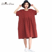 BelineRosa 2018 Women S Summer Dresses Vintage Style Hole Design Plaid Cotton Linen Plus Size Dress