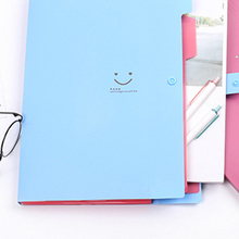 Office Plastic Folders Multi Pocket Organizer Smile A4 File Expansion Document Folder  Bag School Supplies