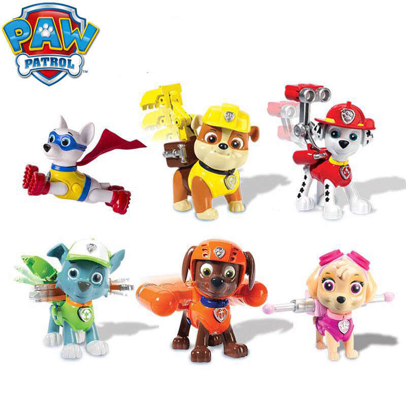 Genuine Paw Patrol Action Pack pups apollo,Marshal, Skye, Rubble chase zume  rocky Rescue Team Figure children's toy original box