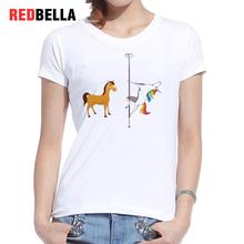 REDBELLA Funny Tee Shirt Femme Animal Anime Parody Cool Cartoon Printing Cute Cotton Tshirt Women White Top Clothing Casual Hot