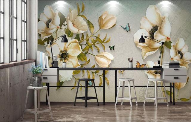 Europäischen Luxus Tapete 3d Rose Tapeten Pfingstrose Schmetterling