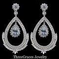 Novo vestido de Noiva Elegante E Requintado Qualidade Superior CZ Criado Diamante Big Waterdrop Escavar Brincos Para Noivas ER249