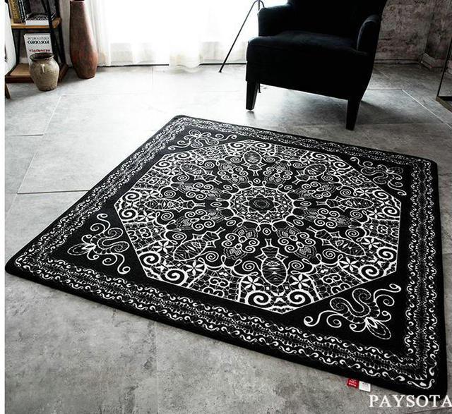 Paysota Modern Hitam Dan Putih Karpet Pintu Gi Sofa Ruang Tamu Meja Teh Tikar