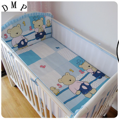 Promotion! 5PCS Mesh Baby Crib Bedding Set for Crib Baby Bed Linens Mesh breathable Cartoon ,include(4bumpers+sheet)