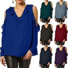 S-2XL women pure color long sleeve tops casual leisure shirts chiffon shirt off shoulder top