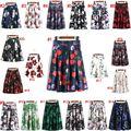 2016 moda nuevas mujeres falda vintage flowers blossom floral de impresión de alta cintura del vestido de bola plisado skater faldas happybuy