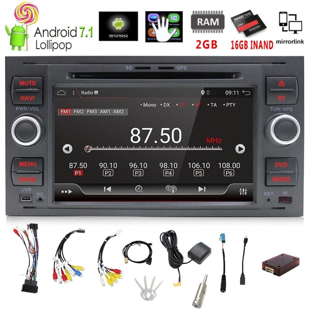 Pur 7 Pouces 2din Android 7.1 Lecteur DVD de Voiture GPS Navi Stéréo Radio Pour C-Max Connect Fiesta Fusion galaxy Kuga Mondeo S-max Point