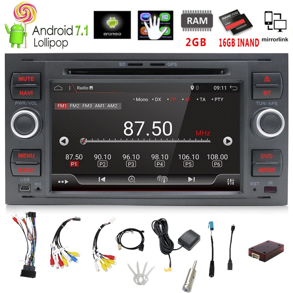 Pure 7Inch 2din Android 7.1 Car DVD Player GPS Navi Stereo Radio For C-Max Connect Fiesta Fusion Galaxy Kuga Mondeo S-Max Focus 2x 18 smd led license plate light module for ford focus da3 dyb fiesta ja8 mondeo mk4 c max s max kuga galaxy