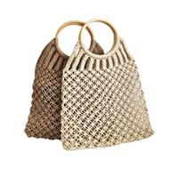Straw Braided Bag Summer Fashion Natural Women's Hand Bag Beach Outdoor Travel Handmade Totes Rattan Handbag Woven Storage Bags