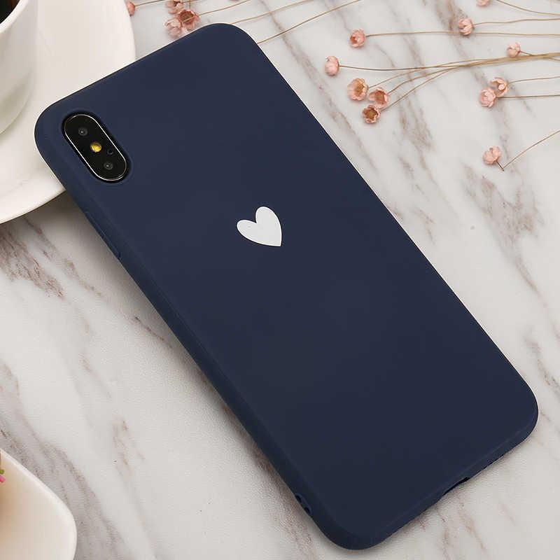 Ultra - thin สำหรับ Iphone 6 6 S 7 8 Plus X XS Max XR 5 5S SE Soft TPU ซิลิโคน Love Heart Case Funda Coque