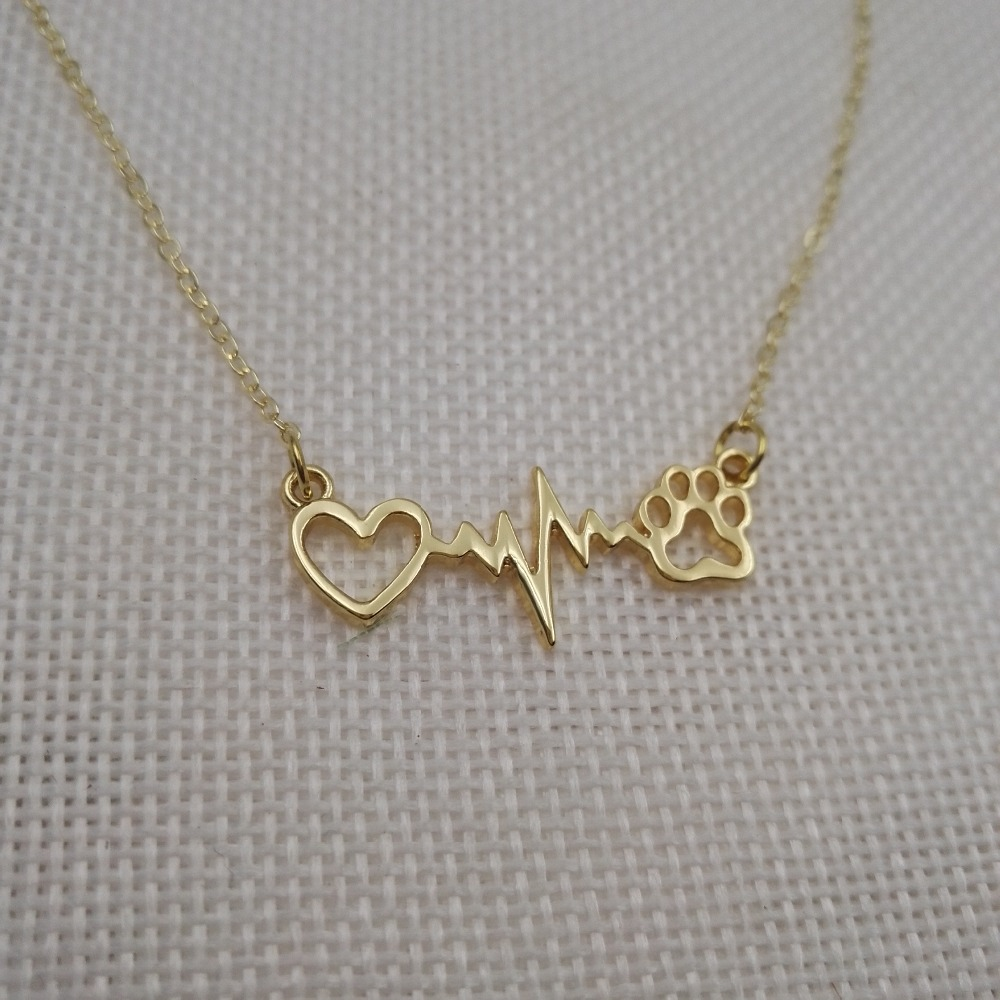 Adaptable 1pcs Women Fashion Love Cats And Dogs Paws And Heart Heartbeat Necklace Paw Necklaces & Pendants Dog Gift Sanlan