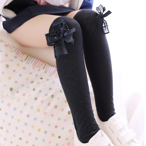9718615d8a7 Best Price Lovely Kids Girls Cotton Footed Tights School High Knee Bow  Stockings