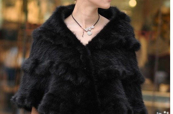 Mink cape mink outerwear fox fur cape outerwear mink knitted fur cape hair