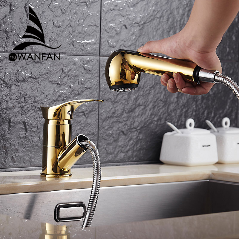 Kitchen Faucets 360 Degree Swivel Pull Out Kitchen Sink Faucet Water-Saving Polished Black Basin Crane Mixer Brass Tap WF-7005