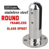 Round Balustrades Handrails 2205 Stainless Steel Glass Spigot Pool Fence Frameless Balustrade Spigots Clamp 20 02
