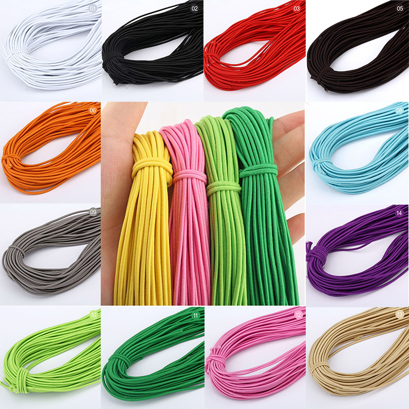 5m/lot 2mm Colorful High-Quality Round Elastic Band Round Elastic Rope Rubber Band Elastic Line DIY Sewing Accessories