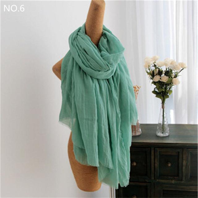A forma Das Mulheres Caem de Moda de Algodão De Linho Amassado Longo Wool Scarf Shawl Enrole 200*160 cm Lenços Biquíni Sarong Cachecol Cover Up