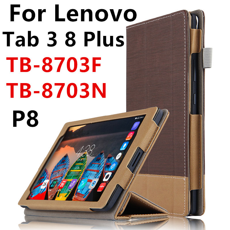 Case For Lenovo Tab3 TAB 3 8 Plus 8703F N Smart Protective cover Leather Tablet For TB-8703F TB-8703N 8 inch PU Protector Cases ultra slim 3 folder silk grain folio stand pu leather cover case for lenovo p8 tab 3 8 plus tb 8703 tb 8703f tb 8703n tablet