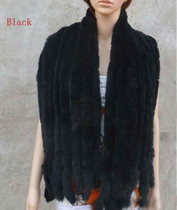 Натуральный вязаный шарф из кроличьего меха Рекс, женская зимняя теплая шаль из натурального меха,, KFP574 - Цвет: Black