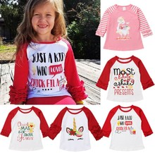 CANIS 2019 Xmas Cute Toddler Baby Girl Christmas Unicorn Ruffle Long Sleeve Tops T-shirt Clothes(China)