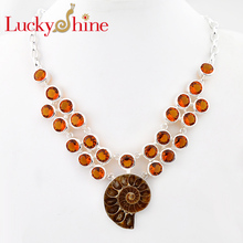 Luckyshine Dazzling Natural Ammonite Fossil Silver Plated Copper Wedding Chain Necklaces Russia USA Canada Pendants Necklaces(China)