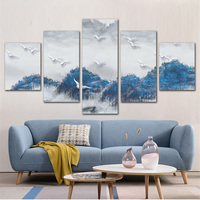 Blue Forest Poster Landscape Oil Painting Print on Canvas Mountain and Bird Scenery Wall Picture for Home Decorative 5 PCS/Set