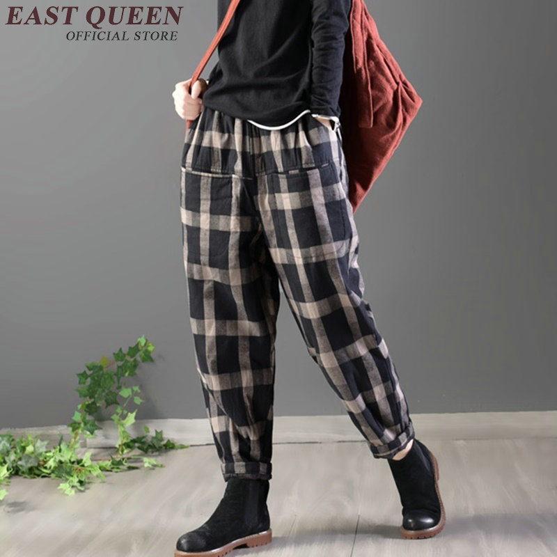 Linen Pants Women Chinese Style Plaid