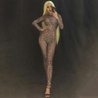 new Black Filled Rhinestone Jumpsuit Sexy Bodysuits For Women Clubwear Evening Party Female Singer Costume Show Outfit