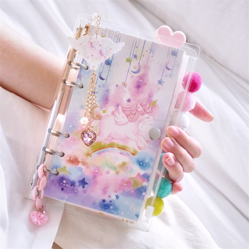 Ins Girl Loose-leaf Unicorn Ocean Cherry Blossoms Series Spiral Traveler's Notebook 6 Hole Cute Removable Diary Gift Suit A5 A6